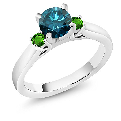 Gem Stone King 1.08 Ct Blue Diamond Green Simulated Tsavorite 925 Sterling Silver 3-Stone Ring (Size 6)