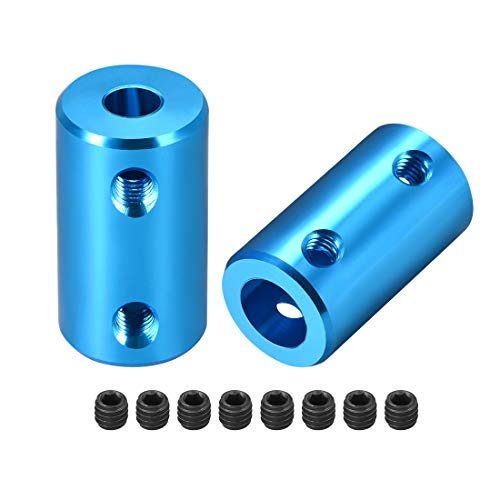 (uxcell Shaft Coupling 5mm to 8mm Bore L25xD14 Robot Motor Wheel Rigid Coupler Connector Blue 2 Pcs)