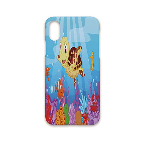 Iprint iPhone X Case Fashion Stylish,Turtle,Funny Adorable Cartoon Style Underwater Sea Animals Baby Turtle and Fish Collection,Multicolor,Hard Plastic Phone Case ()