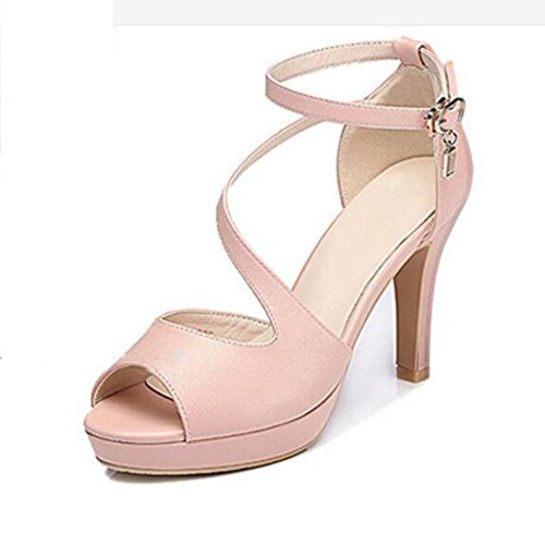 W&LM Ms High heels Sandals Word buckle Thick bottom Fish mouth Fine Waterproof platform Sandals Pink