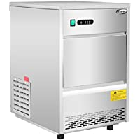 Costway Stainless Steel Commercial Ice Maker 70LB/24h Freestanding Portable Ice Machine Restaurant (Silver)