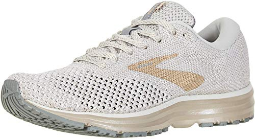Brooks Womens Revel 2 Running Shoe (9, White/Champagne)