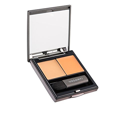 Wonders of the World Concealer Duo by VASANTI - Hide Dark Circles, Scars - Colour Correcting Full Coverage Concealer Duo - Includes a Colour Corrector and Concealer with Mirror and Mini Brush (O2-Oran