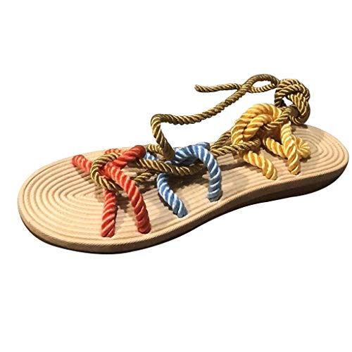 Rome Open Toe Sandals Women Summer Slippers Hemp Rope Flat Lace Beach Slippers