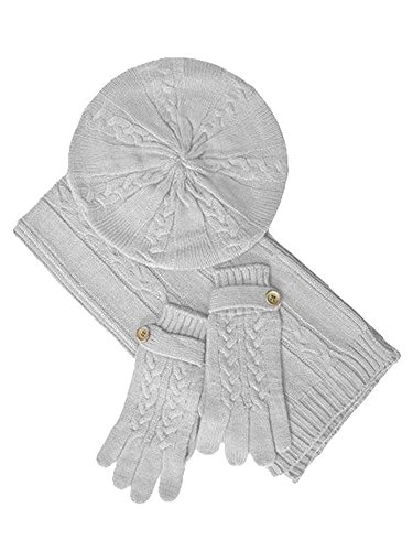 Ivory White Cable Knit Beret Hat Scarf & Glove Matching 3 Piece Set Set by Luxury Divas (Image #4)