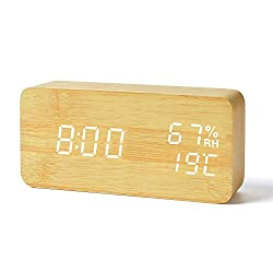 FiBiSonic Digital Alarm Clock with LED Display, Wooden Clock with Voice Control Adjustable Brightness, 3 Alarm Settings, Desk Clocks for Home, Kitchen, Office -Bamboo White