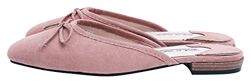 AnnaKastle Womens Vegan Suede Pointed Toe Dress Flats Mule Slide With Bow Pink 6dSxRR