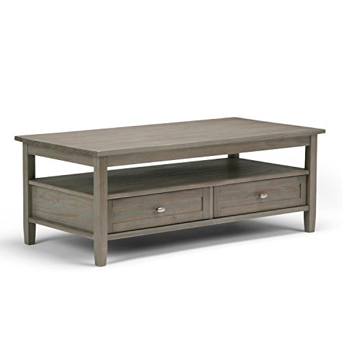 (Simpli Home AXWSH001-GR Warm Shaker Solid Wood 48 inch wide Rustic Coffee Table in Distressed Grey)