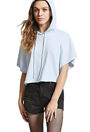 Blue Sweatshirt Top (ECOLIVZIT Womens Short Sleeve Crop Top Hoodies Loose Pullover Light Blue X-Large)