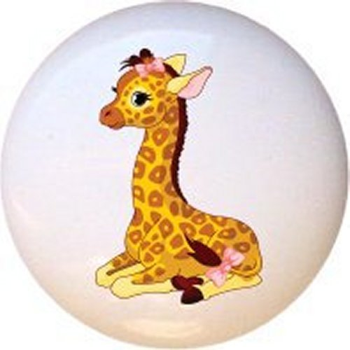 Baby Animals Giraffe Ceramic Cabinet Dresser Drawer Pull Knob