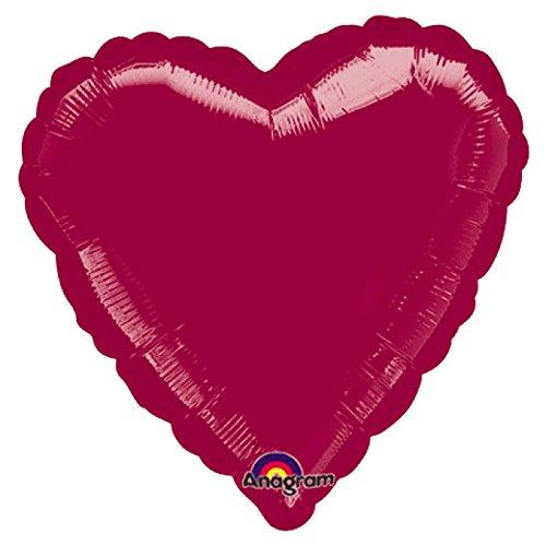 Burgundy Foil (Anagram International Heart Foil-Flat-Balloon, 18