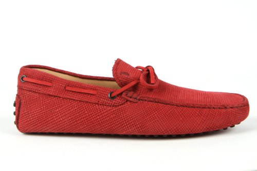 Tod's Mens Shoes Red Gommino Front Tie Moccasins USA Size 7 (Printed Size 6) T104