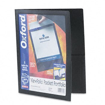 Oxford® ViewFolioTM Poly Portfolios PORTFOLIO,VIEW 2 PCKT,BK (Pack of30)
