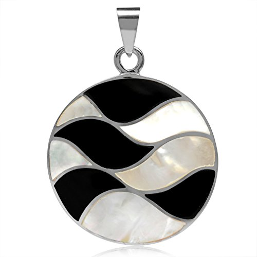 (White Mother Of Pearl & Created Black Onyx Inlay 925 Sterling Silver Disc Circle)
