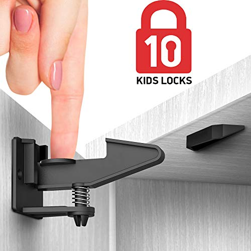 Kitchen Cabinet Locks Child Safety - 10 Pack Adhesive Child Proof Cabinet Locks - Baby Safety Cabinet Locks - Child Locks for Cabinets and Drawers - Corner & Door Guards, Socket Covers - E-Book Story