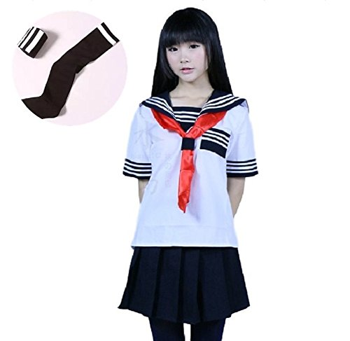 [SSJ:Japanese Sailer Uniform [M/L/XL sailor uniform + socks] short-sleeved Cosplay Dress (M, White)] (Anime Girl Costumes)
