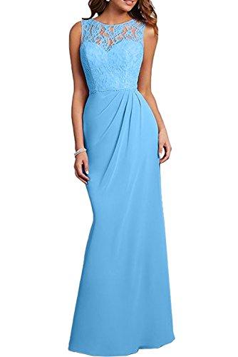 Abendkleider Flieder Damen Blau Spitze Etuikleider Brautmutterkleider Bodenlang Charmant Chiffon Festlichkleider FIq1yZAOOg