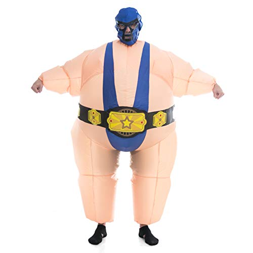 Spooktacular Creations Inflatable Costume Sumo Wrestler Air Blow-up Deluxe Halloween Costume - Adult Size (5'3'' to 6'3'') Blue