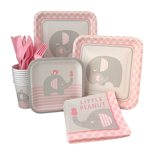 Pink Elephant Girl Baby Shower Supply Pack! Bundle Includes Paper Plates, Napkins, Cups & Silverware for 8 Guests ()