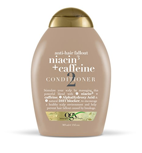 OGX Conditioner Fight Fallout + Niacin + Caffeine Conditioner 13oz, Massage This Powerful Blend with Alpha Hydroxy Acids; Encourage Healthy-Feeling Scalp Environment, Sulfate Free Surfactant Haircare
