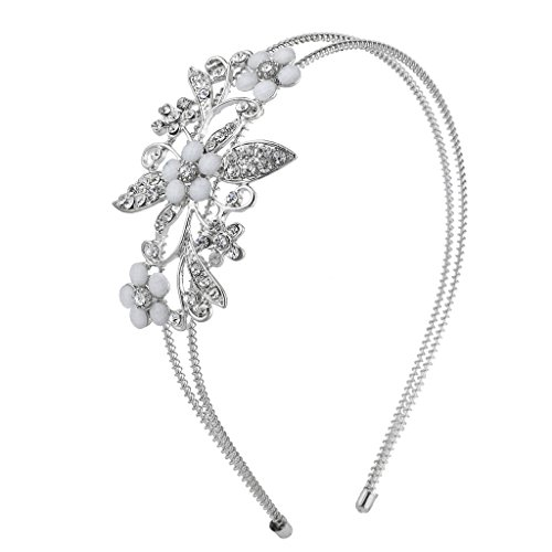 Silver Tone Crystal Flower (Lux Accessories Silver Tone Crystal Rhinestone White Flower Floral Coil Headband)