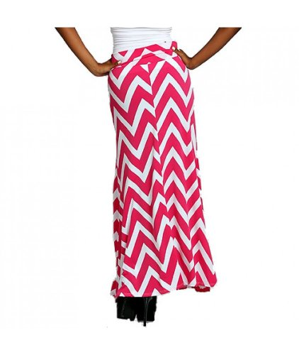 ColorMC Women's Chevron Print Long Maxi Knit Skirt Plus Size 1XL Fuchsia