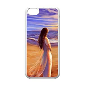 walk on the beach iPhone 5c Cell Phone Case White cover xlr01_7710455