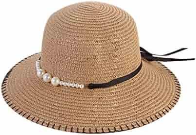 84f3b3ae9d2 Muranba Women Beach Straw Hat Big Wide Brim Flower Faux Pearl Sun Hat