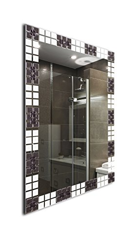 Mirroshome Fused Glass Handmade Frameless Vanity Rectangle Bathroom Wall Mounted Mirror 31.inch X 23.inch