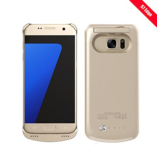 REDGO Galaxy S7 Edge Charger Case, 5200mAh Ultra Slim Rechargeable Portable External Backup Batteryer Cover Protective Case Power Bank Case, Gold