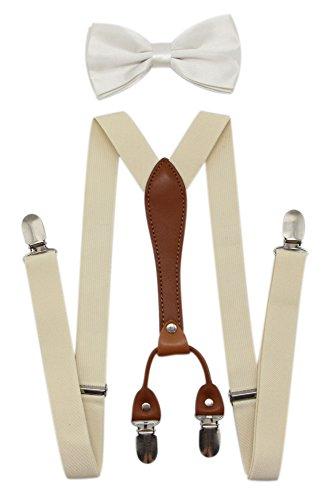 JAIFEI Suspenders & Bowtie Set- Men's Elastic X Band Suspenders + Bowtie For Wedding, Formal Events (Ivory)