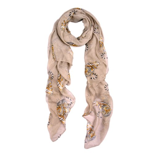 Premium Tiger Animal Print Scarf, Taupe