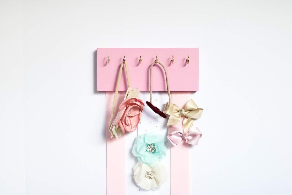 Pink Wood Long Ribbons Bow Organizer & Headband Holder/Poplar Plaque Hooks/Organizer Handmade/High Quality/Nursery Girls Room Decor / (pink wood pink white ribbon) by Wood Decor with Love