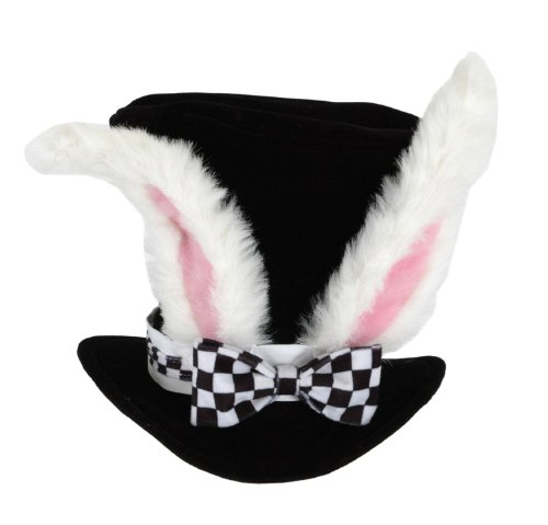 White Rabbit Ears Top Hat (Men Mad Hatter Costume)