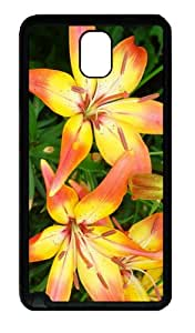 cases stylish yellow red lilies TPU Black case/cover for samsung galaxy note 3 N9000