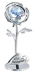 Silver Plated Flower with Blue Swarovski Crystal Glass