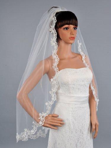 Remedios Boutique 1 T Appliqued Comb Bridal Fingertip Length Tulle Veil