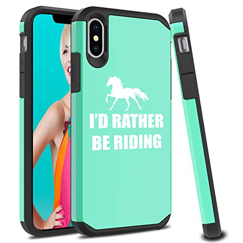 (Shockproof SI Impact Hard Soft Case Cover Protector for Apple iPhone I'd Rather Be Riding Horse (Mint, for Apple iPhone XR))