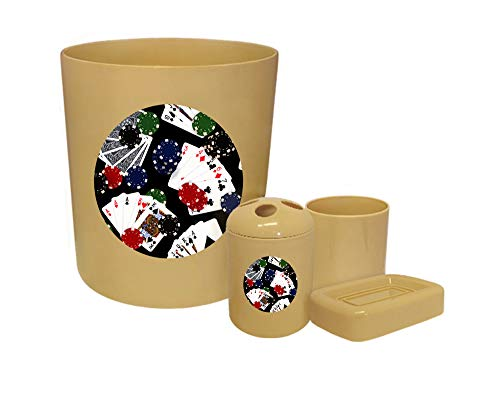 4 Piece Beige Plastic Bathroom Accessory Set Featuring Your Choice of a Game Room Themed Vinyl Decal (Poker Cards) ()