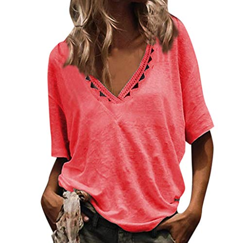 Pengy Women's V-Neck Cotton Tops Casual Hollowing Out Short Sleeve Tops Loose Lightweight Blouse Red -