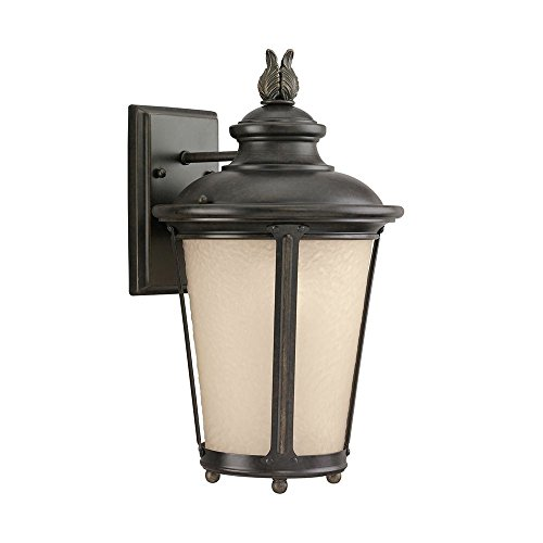 24191S-780 Cape May LED Outdoor Wall Lantern with Etched Hammered Light Amber Glass Diffuser, Burled Iron Finish (780 Sea Gull Lighting)