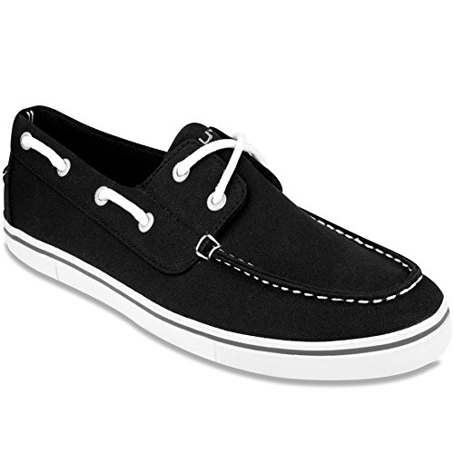 Nautica Deck Shoes - Nautica Men's Galley Lace-up Boat Shoe,Two-Eyelet Casual Loafer, Fashion Sneaker-Black 2-8.5