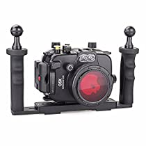 EACHSHOT 40m/130ft Underwater Diving Camera Housing for Canon G5X + Two Hands Aluminium Tray + 67mm Red Filter