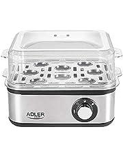Adler Elektrische eierkoker, 1-8 eieren, 500 watt, roestvrijstalen verwarmingsplaat, automatische uitschakeling, controlelampje, oververhittingsbeveiliging, eierkoker, eierkoker