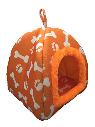 WOWOWMEOW Small Animals Warm Cave Bed Bones & Paws Print House for Guinea Pigs, Hamsters, Chinchillas, Hedgehogs, Squirrels and Rabbits (Orange)