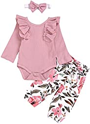 Sampheya Infant Baby Girls Long Sleeve Clothes Ruffle Romper+ Floral Pant + Headband 3pcs Newborn Girls Outfit