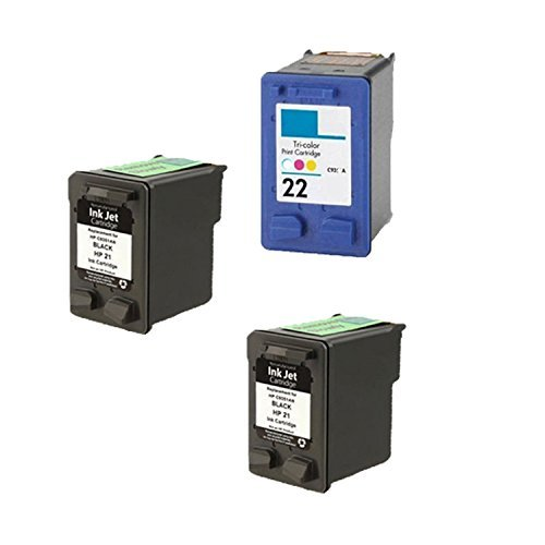 Remanufactured Ink Cartridge Replacement for HP 21 ( Black ) and HP 22 ( Color ) (2 Black 1 Color 3 Pack) ()