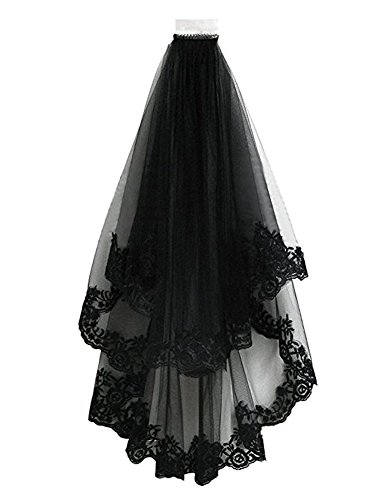 TOPJIN Classic Lolita Style Black Cathedral Halloween Party Wedding Bridal Veil, 8060cm