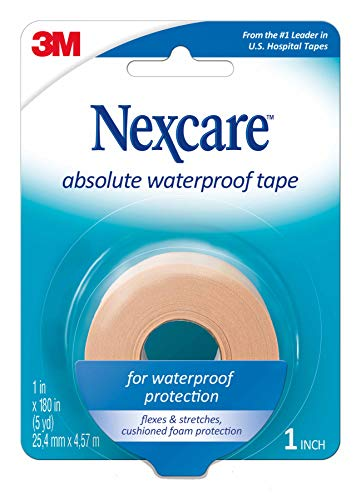 Nexcare Absolute Waterproof First Aid Tape, Tough, 1-Inch x 5-Yard Roll (Pack of 6)