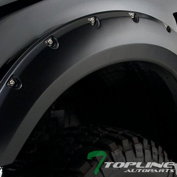 Topline Autopart Matte Black Pocket Rivet Fender Flares Wheel Cover Jr 04-08 Ford F150/06+ Mark Lt